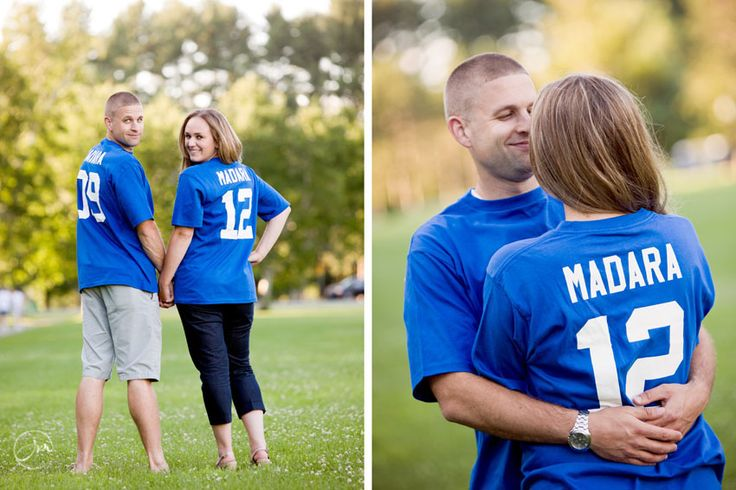 save-the-date jerseys, NY Giant's fans, 9/12/14, fun engagement photo www.jennmoakphotography.com