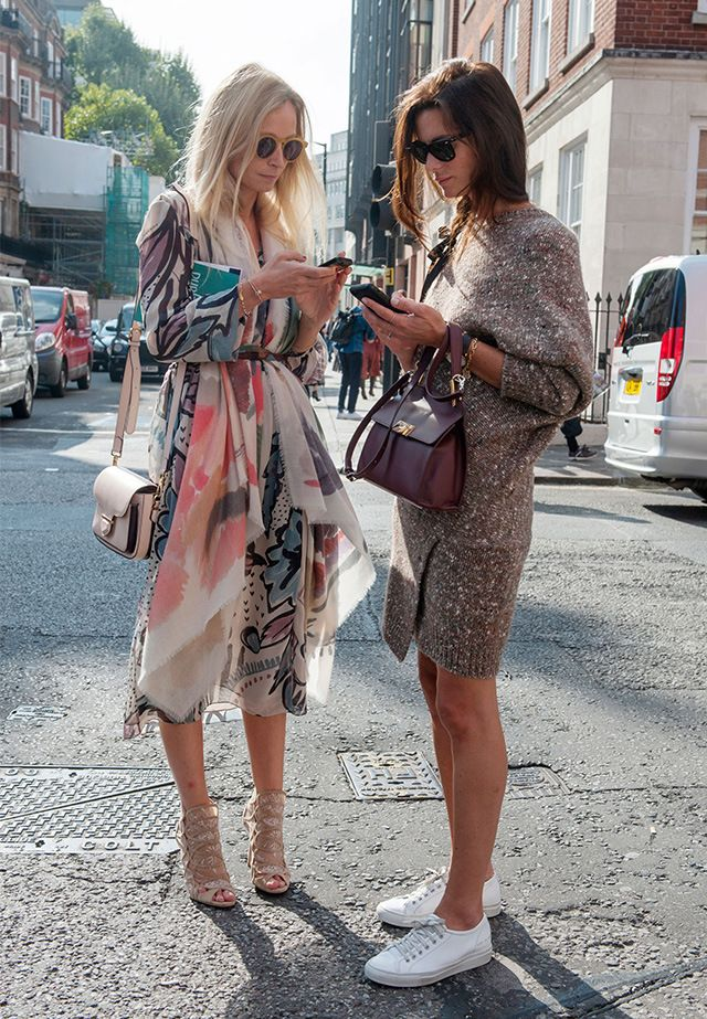 Street style friends at London Fashion Week Spring 2015.. http://fashionbagarea.blogspot.com/ We can spot a chanel clutch from a mile off. Those golden studs are set perfectly against the chic tan shade.$159 Want!