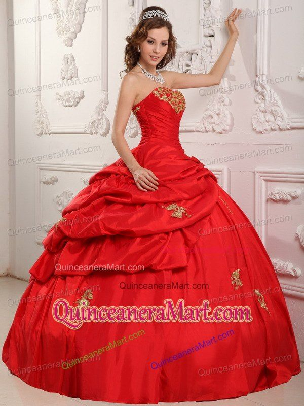 17cc720728b Wonderful Sweetheart Appliques Red Quinceanera Dress with Pick-ups ...