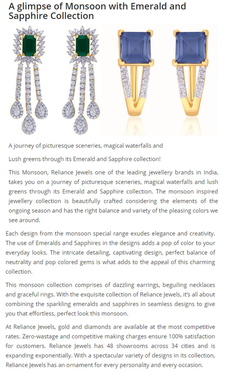 As seen in Heera Zhaveraat (HZ International) Magazine  A glimpse of Monsoon with Emerald and Sapphire Collection  http://bit.ly/29xTWHJ  www.reliancejewels.com  #reliancejewels #bethemoment #gold #earrings #necklace #jewellery #HeeraZhaveraat #magazine #advertorial