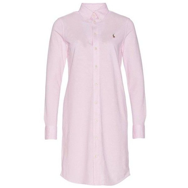 Oxford Long Sleeve Shirt Dress (2.499.835 IDR) ❤ liked on Polyvore featuring dresses, oxford shirt dress, long sleeve shirt dress, long sleeve day dresses, pink long sleeve dress and long-sleeve shirt dresses