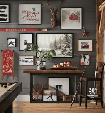 A fun holiday decorating idea from the Pottery Barn holiday catalog: Holiday up your favorite photo wall by subbing in a wintry scene or a graphic message of holiday cheer! So cute!