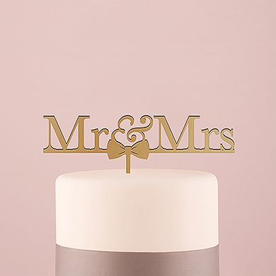 Mr and Mrs Bow Tie Acrylic Cake Topper - Metallic Gold