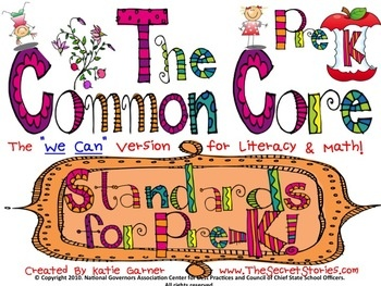 """The Cutest EVER!!!!  """"PRE-K"""" Common Core Poster Set!! (K, 1st, 2nd & 3rd!!   """"Follow Me"""" on Teachers Pay Teachers (and Pinterest!) for notification of FREE DOWNLOAD WINDOWS for initial postings!"""