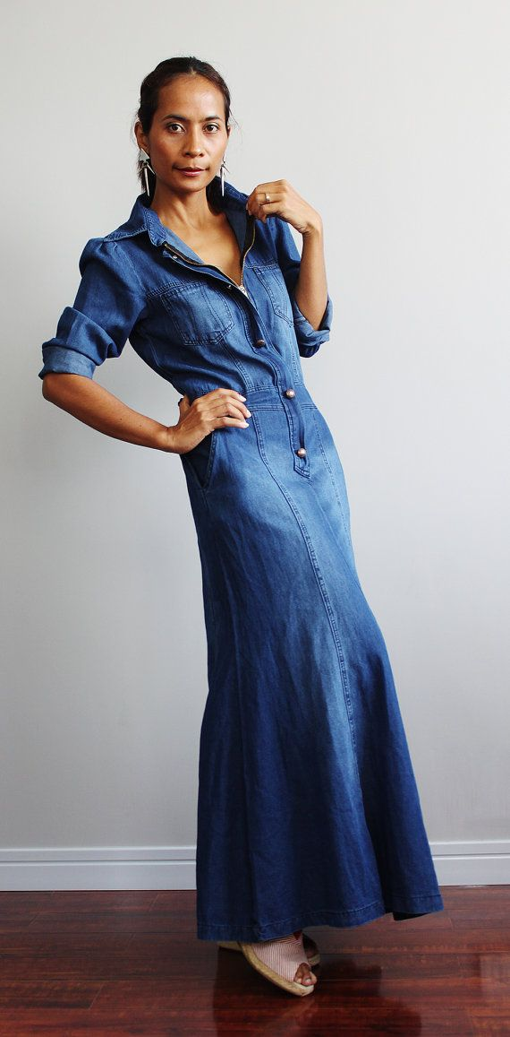 Denim Maxi Dress Long Sleeved Urban Chic Collection