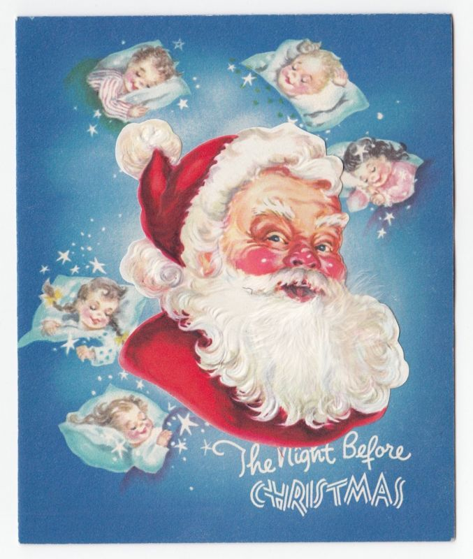 Vintage Greeting Card Christmas Santa Claus Die-Cut Sleeping Children