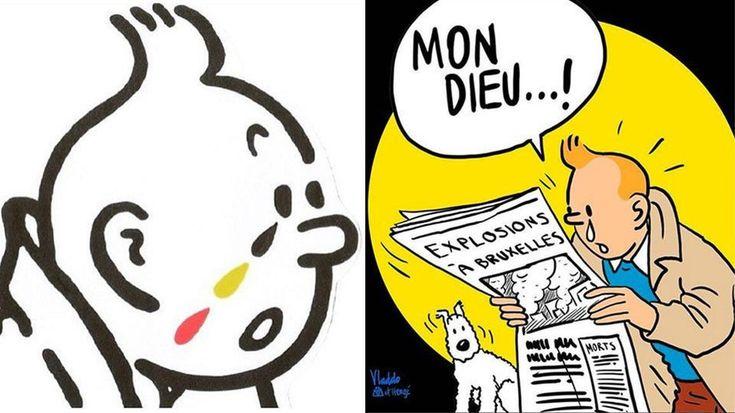 """L'immagine di Tintin in lacrime si è fatta virale. Il reporter boy-scout dalle mille avventure che si commuove, è diventata infatti in poche ore la """"cartolina"""" – declinata in vari modi – che ha viaggiato sui social per esprimere la solidarietà a Bruxelles e alla vittime del terrorismo dopo gli attacchi subiti il 22 marzo."""