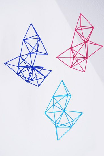 Rotkehlchen: DIY: Geometric Mobile (toothpicks glued & painted)