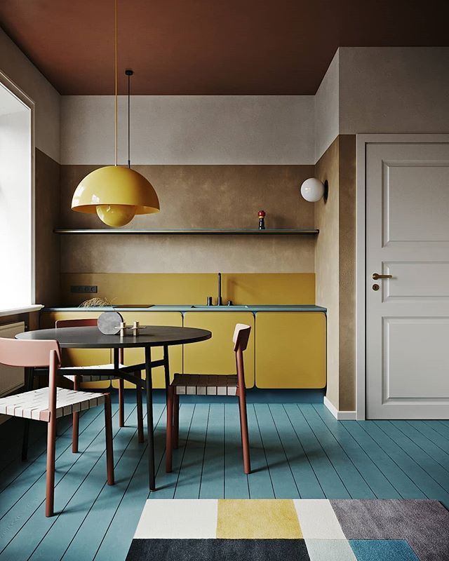The most beautiful yellow kitchen with bare gypsum walls, blue floor and pink … #WoodWorking