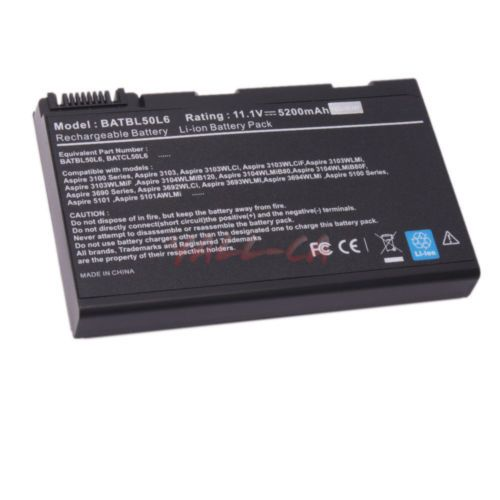 New 6 Cells Battery for Acer Aspire 3100 3690 5100 5610 5630 5680 9110 CA