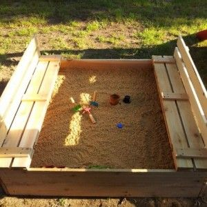 #DIY Sandbox with Bench Cover-DIY Sandbox Projects (Video)   #Outdoor, #Furniture. The convertible #sandbox with built in cover converts to benches for kids seating.