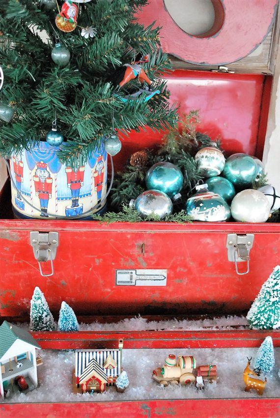 Vintage Red Waterloo Industries Metal Tool Box by EnchantedBella