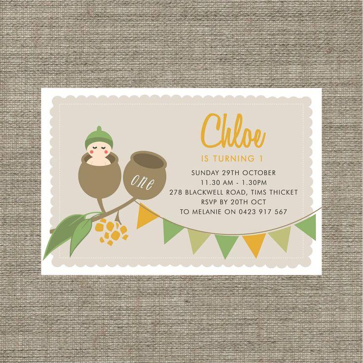 Printable Gumnut babies birthday invitation / by BonjourBerry, $16.00