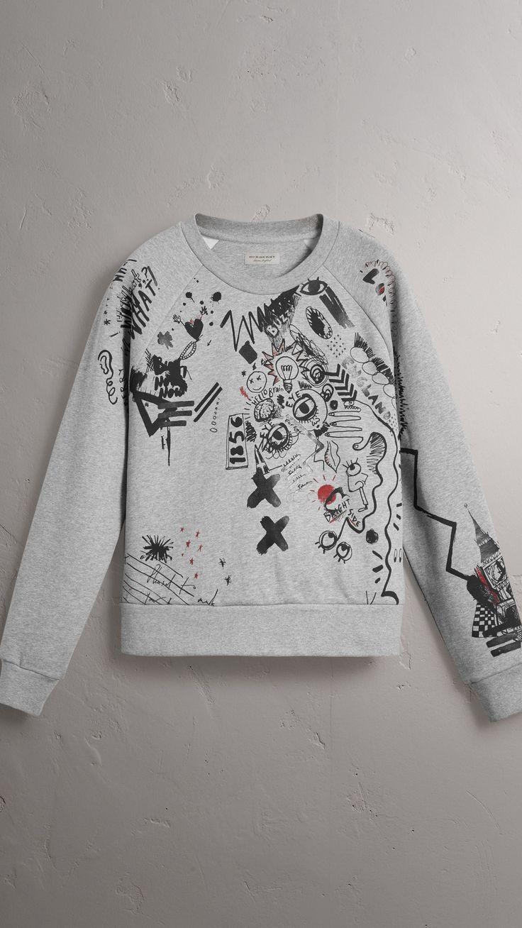 Sweatshirt aus Jersey mit Comic-Aufdruck (Hellgrau Meliert) - Damen | Burberry