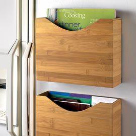 Magnetic Bamboo File Box - for kids school stuff on fridge