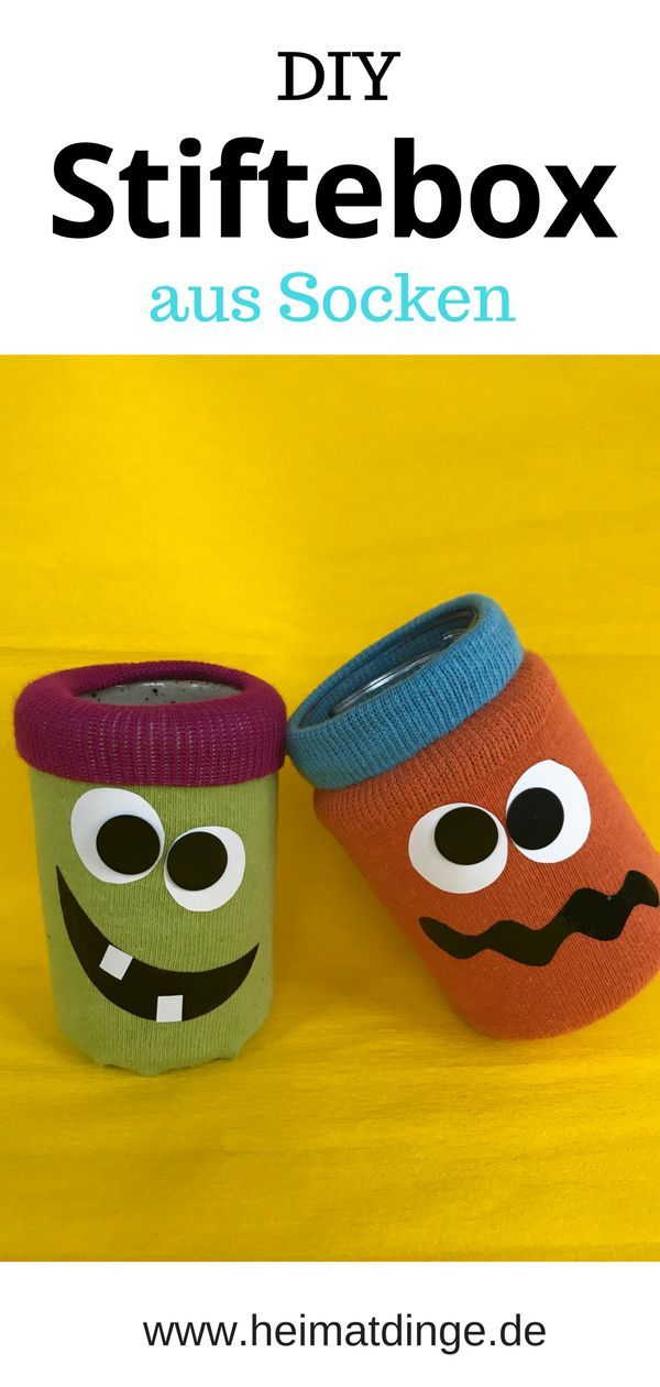 Pencil Holder Ricky And Rocko Made Of Old Socks Diy Kids