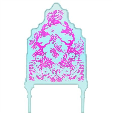 Chinoiserie Curvy Turquoise & Purple Headboard Wall Decal for Twin Bed