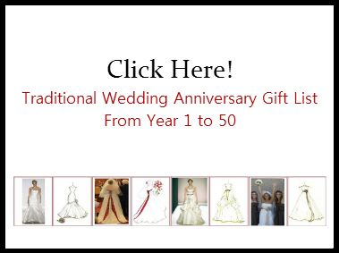 Click here to see the wedding anniversary gift list...from year 1 to 50.  http://www.mydreamlines.com/wedding-ideas/traditional-wedding-anniversary-gift-list