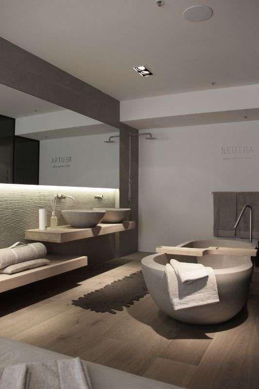 Arredi per il bagno in legno e grigio nel 2019 bagno for Arredi per bagno