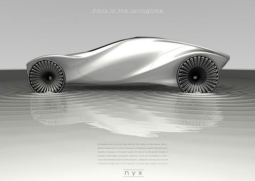 Nyx Vehicle Concept by Elizabeth Pinder is a clean vehicle for private transport with a relaxed approach to driving. The hydrogen powertrain doesn't use conventional gas tanks, but splits collected rain water (stored within glass tubules of the interior structure) into hydrogen and oxygen via a catalyst currently in development at MIT.