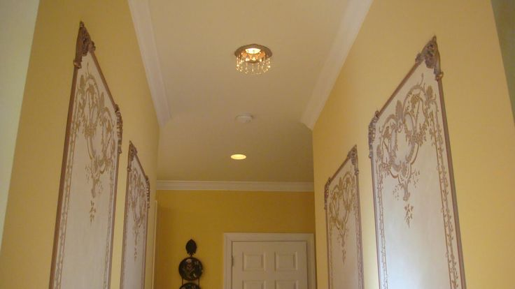 Beaux-Arts Georgian Wall Panels with Georgian Canvas Panels and Victorian recessed light trims embellished with crystals to match dining room chandelier