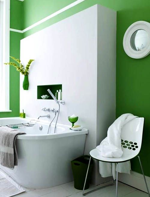 kelly green walls with bright white accents