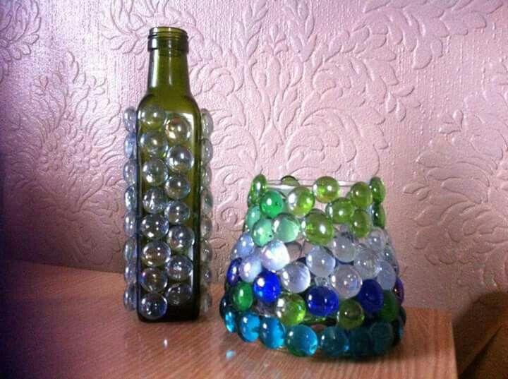 Flat bottle marble  and vase