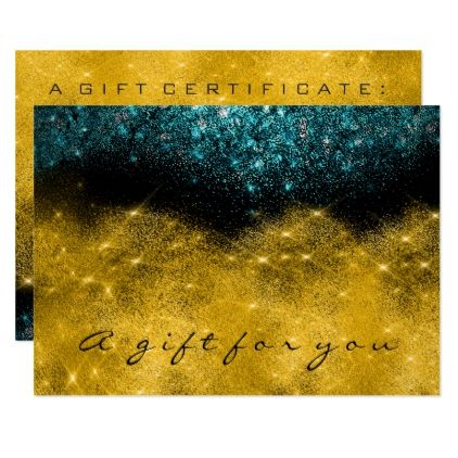 Gift Certificate Teal Gold Glitter Lash Beauty Card - black gifts unique cool diy customize personalize