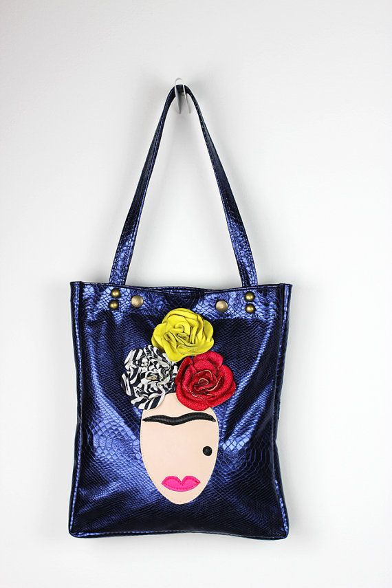 Frida Leather Tote Bag/Metallic Blue Leather by NeroliHandbags