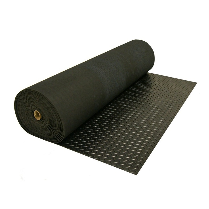 Diamond plate rubber flooring for the race trailer.