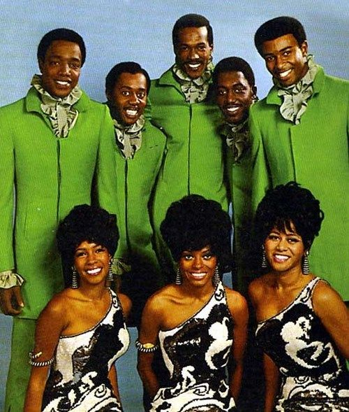 Diana Ross & the Supremes and the Temptations in 1968. Top row, from left to right: Paul Williams, Melvin Franklin, Eddie Kendricks, Otis Williams, and Dennis Edwards. Bottom row, from left to right: Mary Wilson, Diana Ross, and Cindy Birdsong.