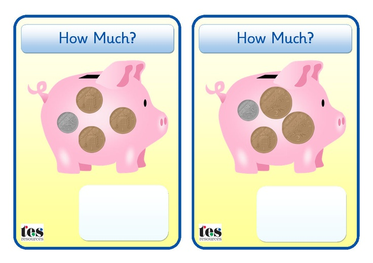 Hands on Money activity. Each piggy bank contains coins. Pupils can use the cards to add up the amounts (mixed coins - 1p, 2p and 5p) or build the amounts with actual coins. Includes an assortment of examples plus blank templates for building different amounts/using different coins etc.