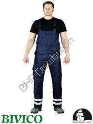 Granatowe spodnie robocze ogrodniczki z pasami odblaskowymi LH-BISTER_X