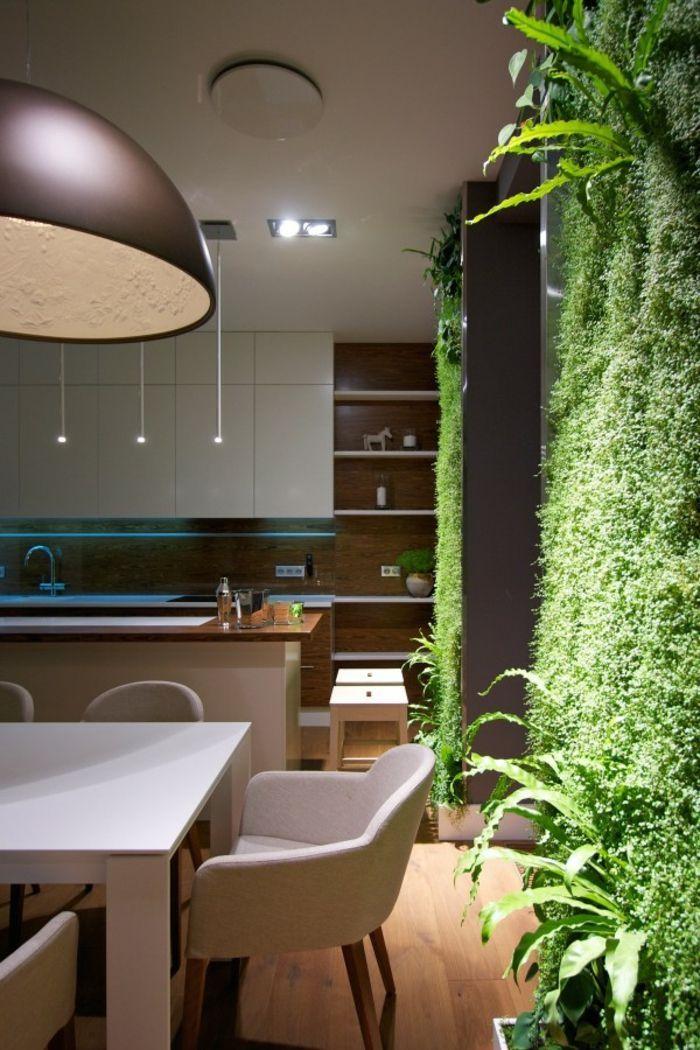 Cuisine Avec Un Mur Végétalisé Plafonnier Style Industriel Cuisine