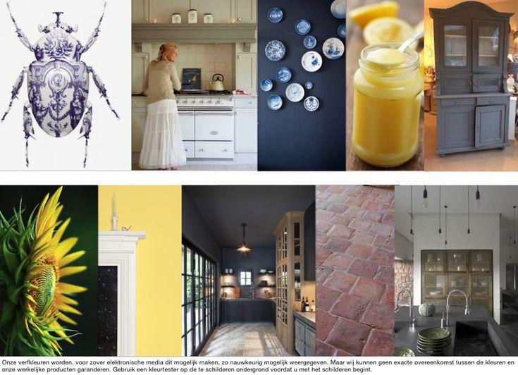 Moodboard door OPEN interiors in opdracht - keuken geïnspireerd op de gele eetkamer van Monet. Wanden Dayroom Yellow van Farrow & Ball, betonnen keukenbladen, werkeiland, Delfts blauw, Falcon fornuis