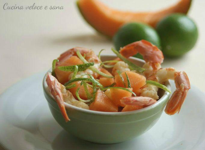 Insalata di gamberi, melone e lime, ricetta estiva | Cucina veloce e sana