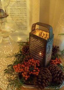 farmhouse rustic christmas decorations | christmas garland tree wrap pinterest pin rustic christmas table decor ...