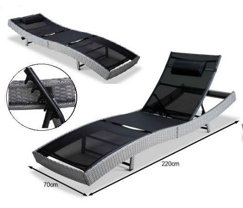 Patio Rattan Sun Lounger Grey Garden Day Bed Reclining Wicker Furniture Sun Deck #Unbranded
