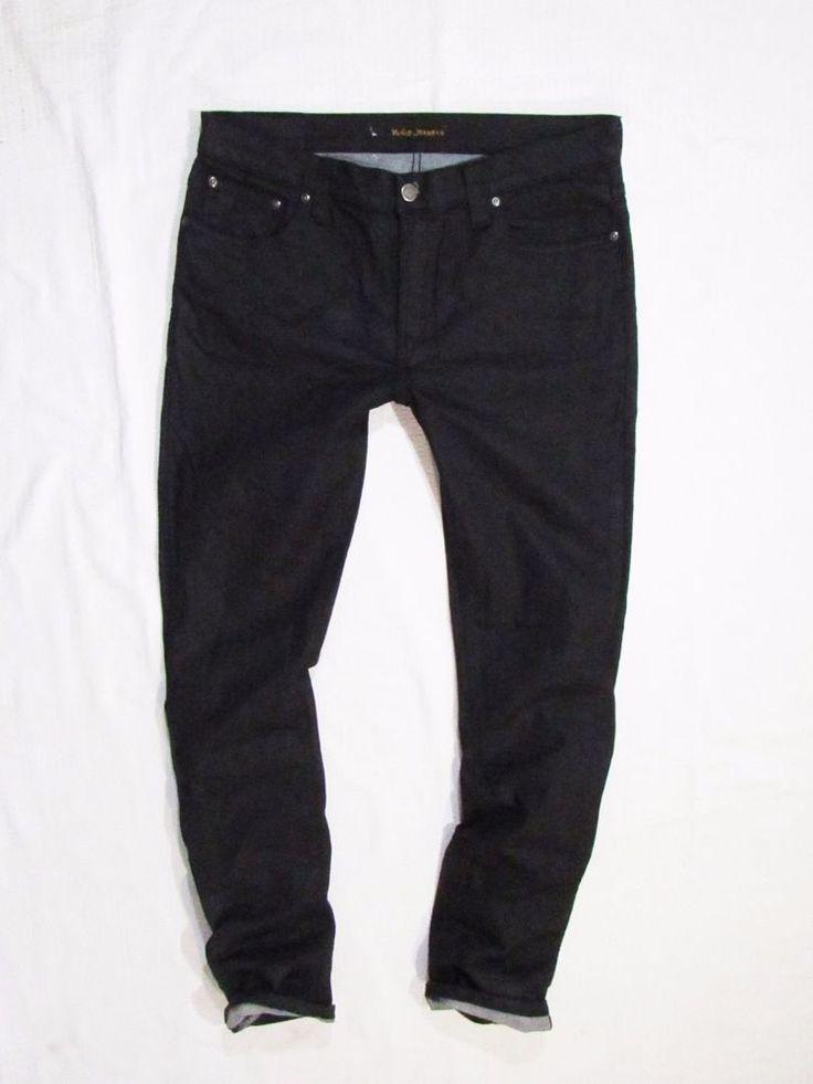 mens jeans Nudie Tube Tom Org Black in Black  W33 L32 #NudieJeans #SlimSkinny