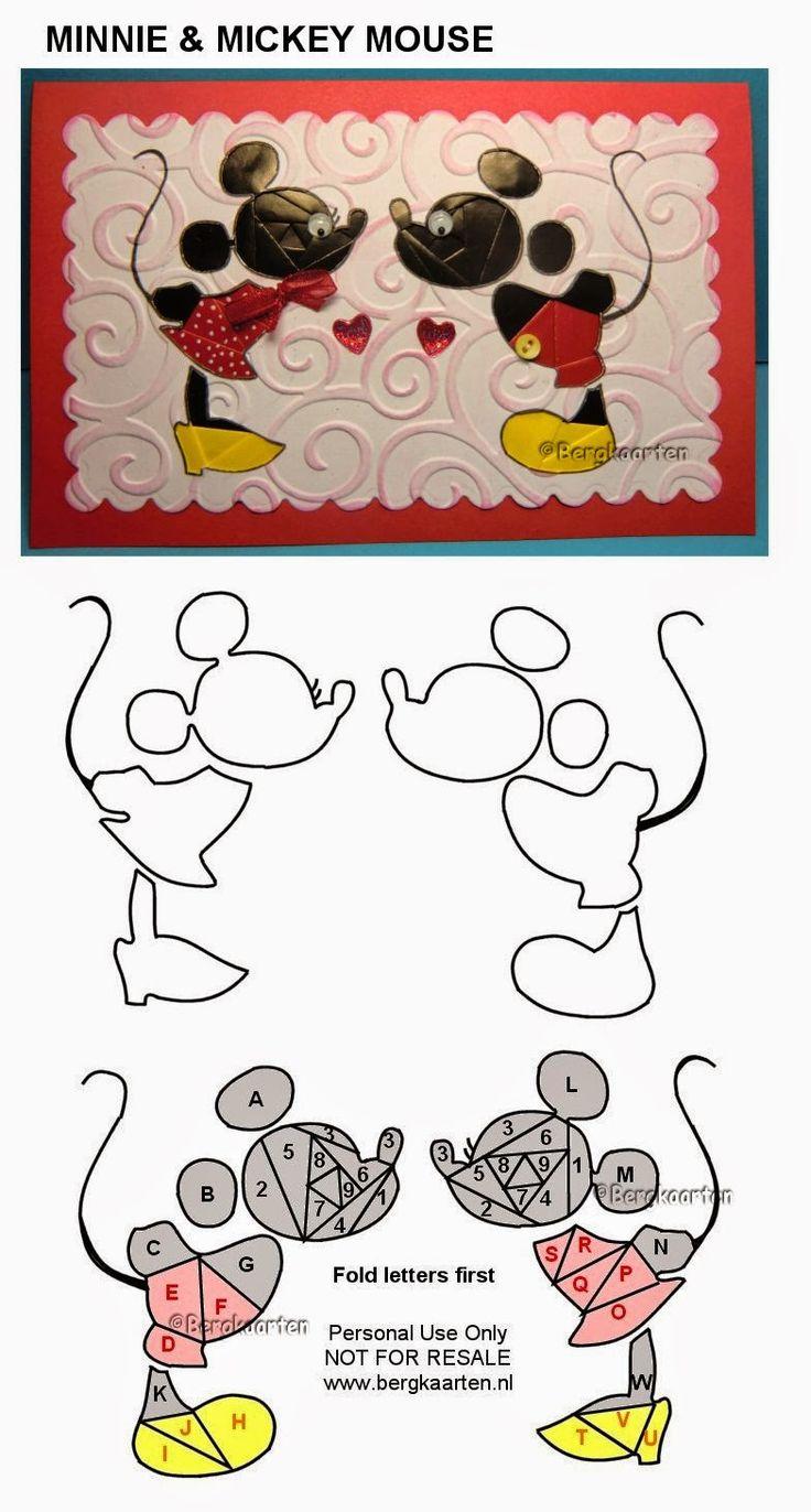 Iris Folding: Minnie  Mickey Mouse                                                                                                                                                      More