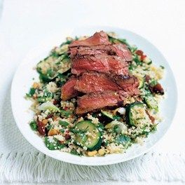 Roast beef and couscous with grilled vegetables