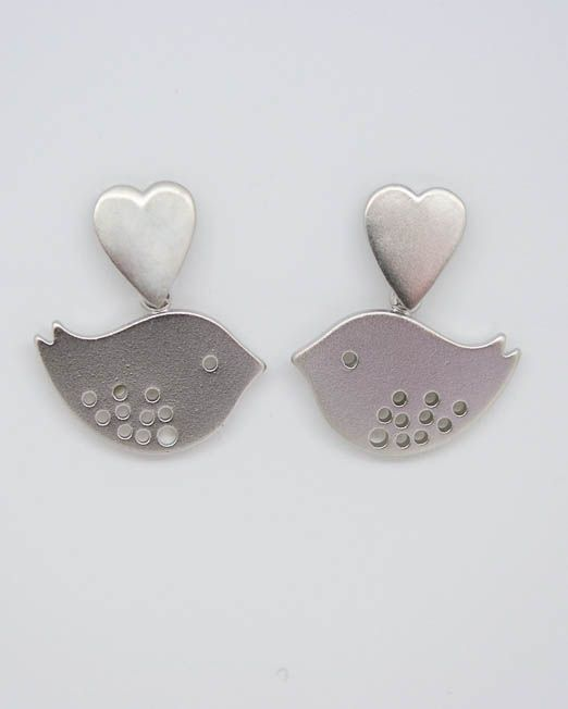 Heart and  lovebird drop earrings.  The heart measures 10mm x 8mm and the lovebird  18mm x 12mm making a total length of 22mm approx.  They are set into rhodium plated fittings with 925 silver posts and scrolls.  #Bird #Earrings #Heart #Portside