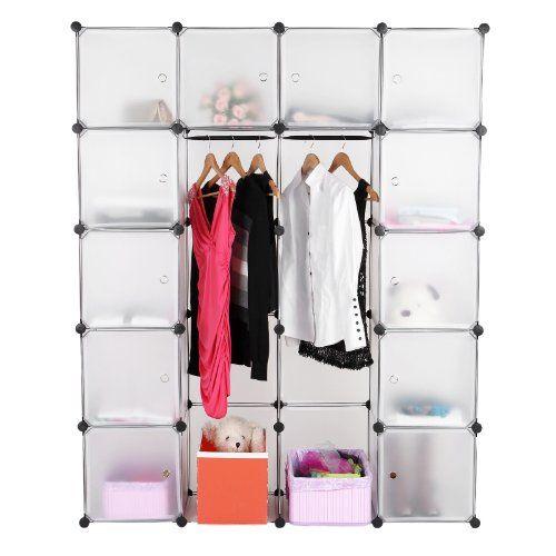 Songmics DIY Plastic Wardrobe Cupboard Clothes Hanging