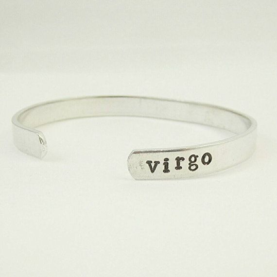 Virgo  Hand Stamped Bracelet  Zodiac Sign by cutcolorcreate