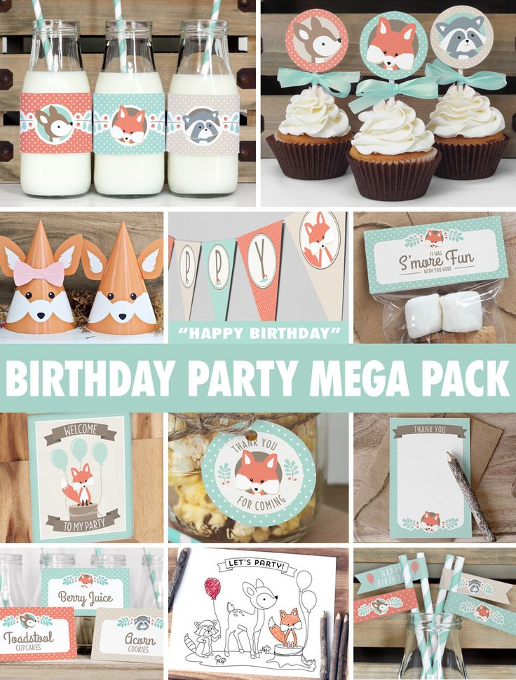 Woodland Birthday Party Mega Pack // INSTANT DOWNLOAD // Mint & Coral Birthday Decorations // Deer Fox Raccoon // Printable BP03 by ThePrettyPaperStudio on Etsy https://www.etsy.com/listing/202726587/woodland-birthday-party-mega-pack