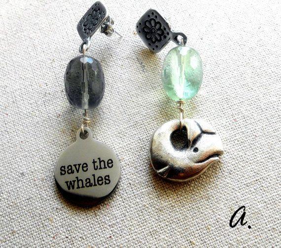 Earrings SAVE THE WHALES. Dangle earrings Zamac by EarringsandJoy