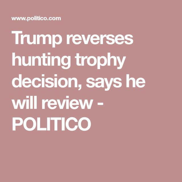 Trump reverses hunting trophy decision, says he will review - POLITICO