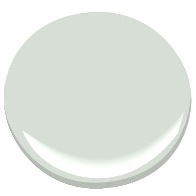 BM: Silver Crest.A generous dose of gray gives elegance to this very light shade of green. Evocative of the prized Silver Crest milk glass, it is delicate yet durable. Looks good w/sky blue, navy, deep burnt coral, & dark gray.