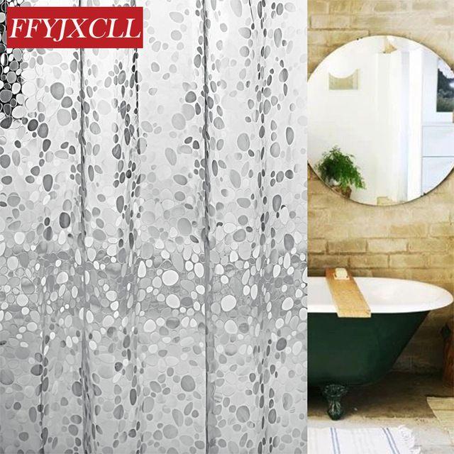 Eva Transparent Cobblestone Bathroom Shower Curtain Mildew Proof