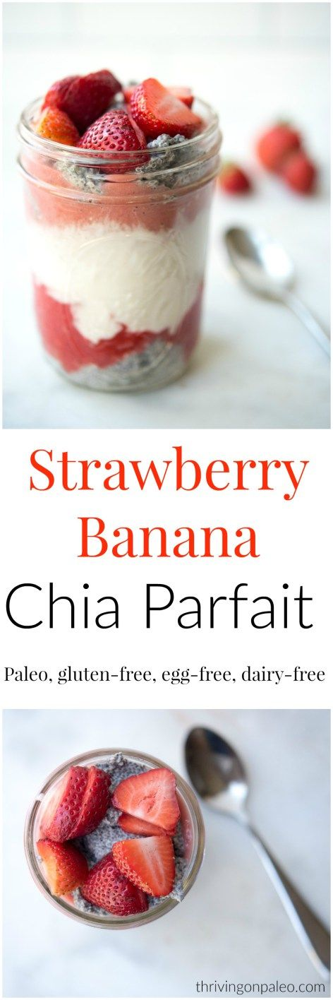Strawberry Banana Chia Pudding Parfait recipe- and how to make chia pudding video. A perfect portable breakfast or snack option. Paleo | Gluten-free | Dairy-free | Nut-free | Egg-free